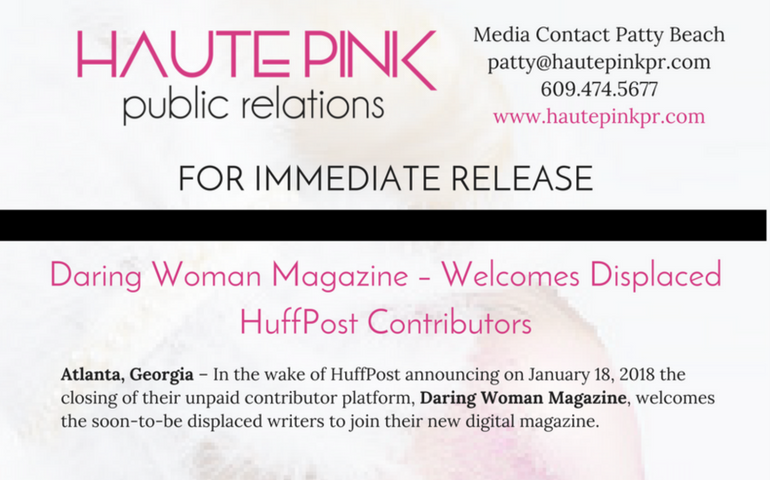 Press Release –  Daring Woman Magazine Welcomes Displaced HuffPost Contributors